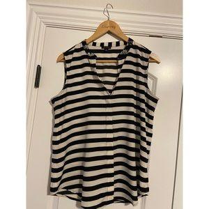 Black & white striped sleeveless top